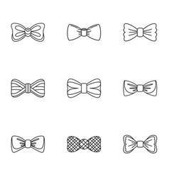 Tie icons set outline style vector