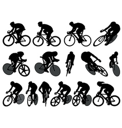 Track cycling silhouettes vector image