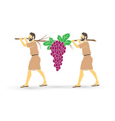Two spies of israel carrying grapes of canaan vector