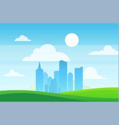 urban landscape skyscrapers in green eco area vector image