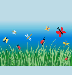 Various cartoon insects in green grass on blue vector