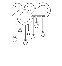vertical banner 2020 happy new year single line vector image