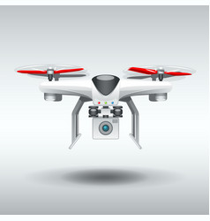 white drone quadrocopter vector image