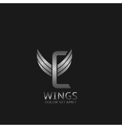 Wings C letter logo vector image vector image