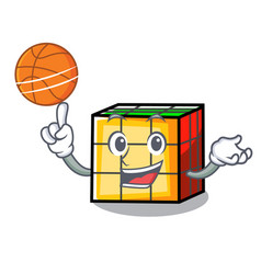 With basketball rubik cube character cartoon vector