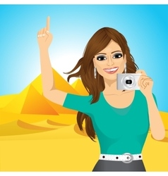 woman taking a picture vector image