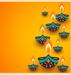 Yellow diwali background with creative diya vector