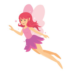 Young beautiful angelic pink fairy girl vector