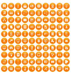 100 database icons set orange vector image vector image