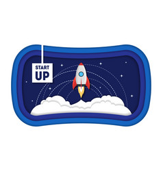 cartoon symbol start up concept space ship rocket vector image
