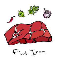 flat iron steak cut isolated on white vector image vector image