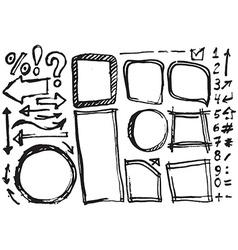 Hand drawn figures Elements banners symbols arrows vector image