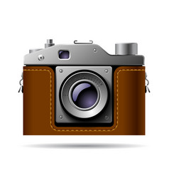 retro photo camera icon isolated on white vector image