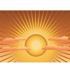 Sun with rays and clouds vector image