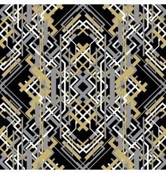 Trendy linear style golden black design seamless vector image
