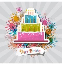 Birthday Background with Cake vector image