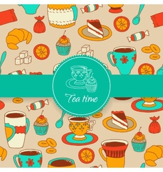 Concept of tea time sticker stuff vector image