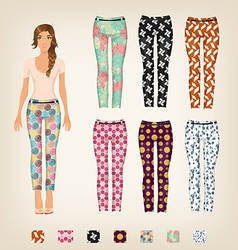 dress up paper doll with an assortment of vector image vector image