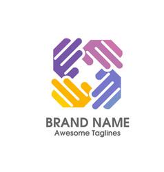 hand social charity team logo vector image