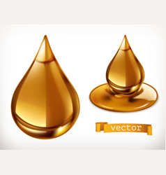 honey drop 3d icon set vector image