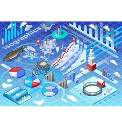 Isometric Infographic Ice Fishing Set vector image