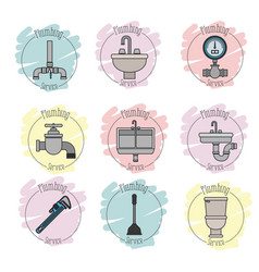 sticker scene of icons set on white background vector image