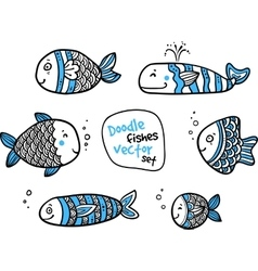 Set of black and white fishes in doodle ink style vector image vector image