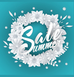 summer sale lettering with paper art flowers vector image vector image