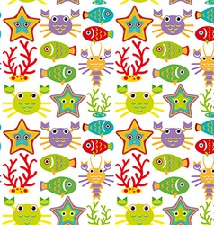 Seamless pattern with marine animals on a white vector image vector image