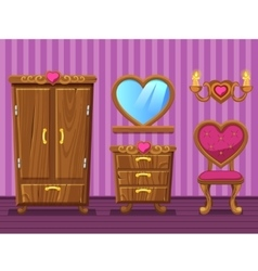 Set cartoon girlish pink Living room vector image vector image