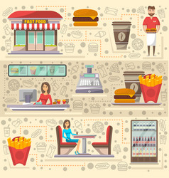 street fast food cafe elements set in flat style vector image vector image