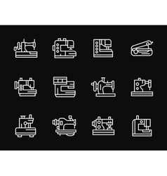 White simple line sewing machine icons vector image vector image