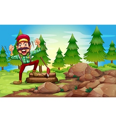 A woodman in the forest near the pine trees vector