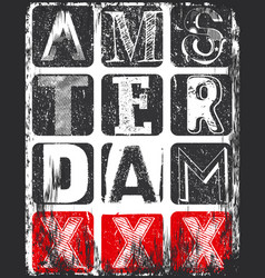 Amsterdam athletic sport typography t-shirt vector