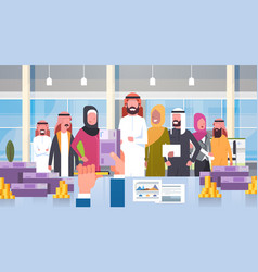Arab business people group leader giving salary vector