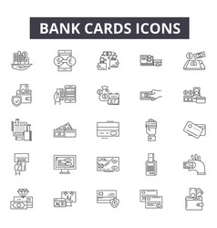 bank cards line icons for web and mobile design vector image