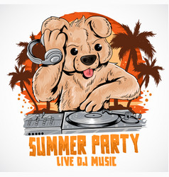 bear summer party dj house music element vector image
