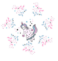 Beautiful unicorn with floral frame magic vector