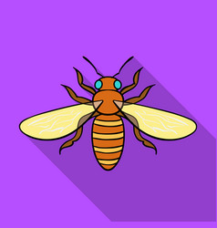 Bee icon in flat style isolated on white vector