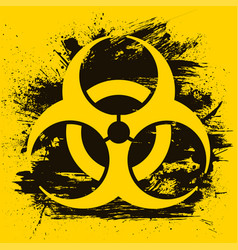 biohazard dangerous sign on grunge background vector image