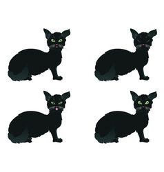 Black cat with green eyes vector