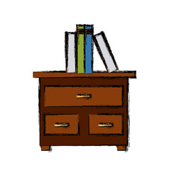 Books on drawer vector