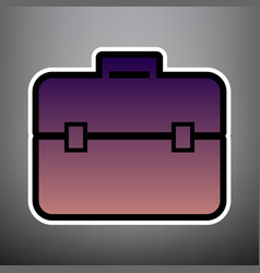 briefcase sign violet vector image