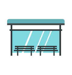 Bus stop icon flat style vector