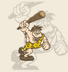 Cartoon caveman in an animal skin vector