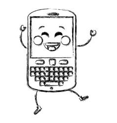 Cellphone device kawaii character vector