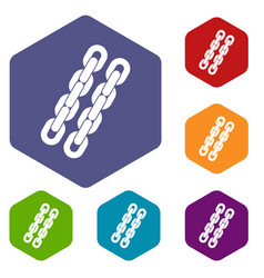 Chains icons set hexagon vector