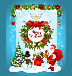Christmas banner with santa snowman and wreath vector