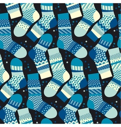 Christmas blue striped socks wrapping paper in vector image