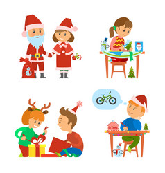 christmas holidays children unpacking presents vector image